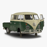 Volkswagen Type 2 Double Cab Pick Up Rigged Green 3D Model