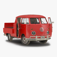 Volkswagen Type 2 Double Cab Pick Up Rigged Red 3D Model