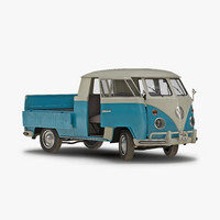 Volkswagen Type 2 Double Cab Pick Up Rigged Blue 2 3D Model