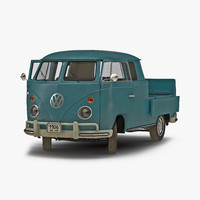 Volkswagen Type 2 Double Cab Pick Up Rigged Blue 3D Model