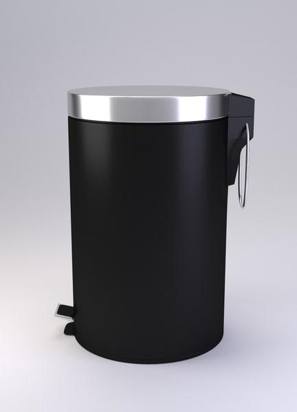 pedal bin black 3d model