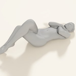 3d scan woman laying model