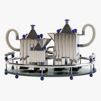 tea set tray silverware 3d model