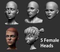3d female heads
