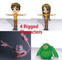 4 rigged characters obj