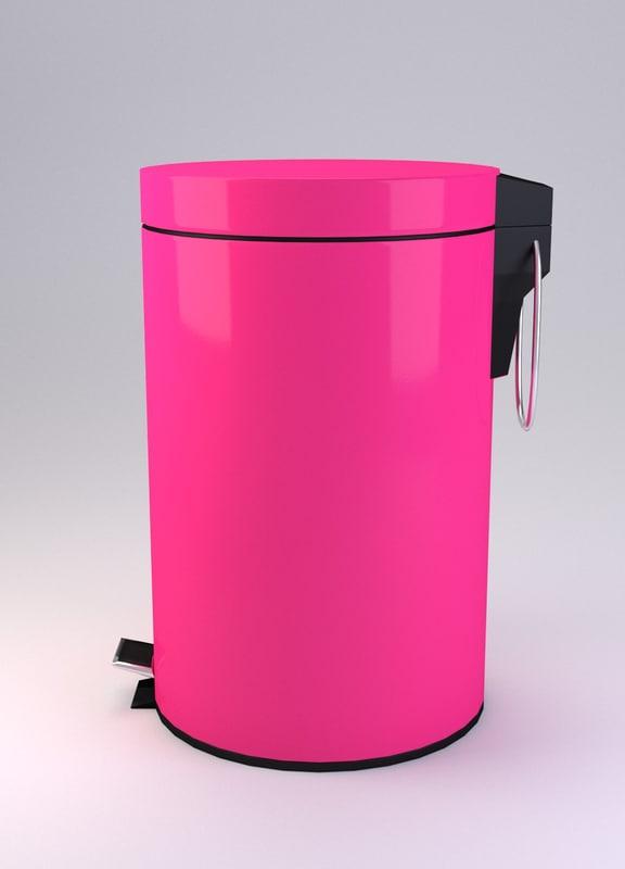 3d model pedal bin pink