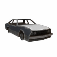 ruined old car 3d model