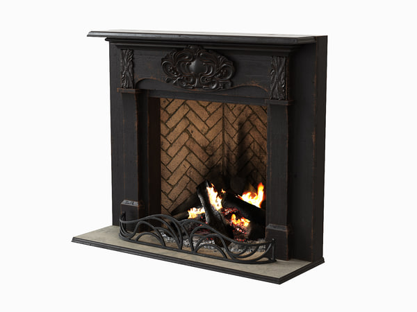 3d black wood fireplace