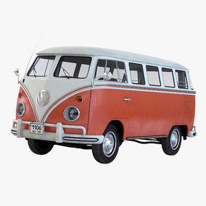 volkswagen type 2 brown 3d model