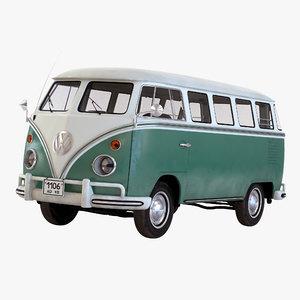 3d model of volkswagen type 2 simple