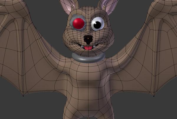 cartoon bat 3d obj