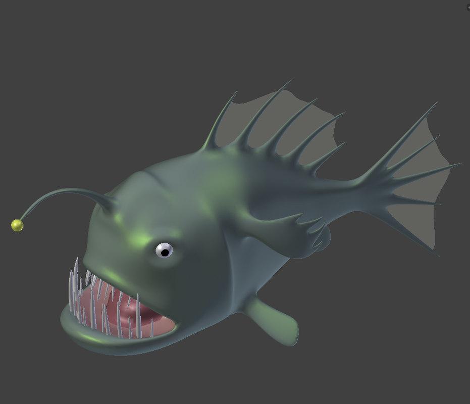 obj cartoon angler fish