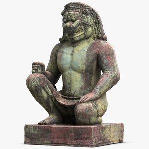 cambodia demon sculpture 3 3d max