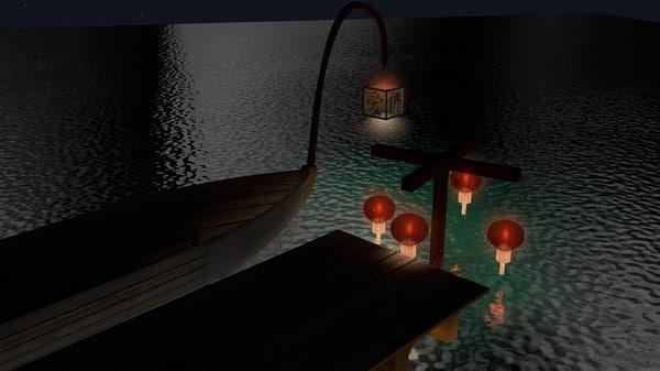 chinese lantern 3d c4d
