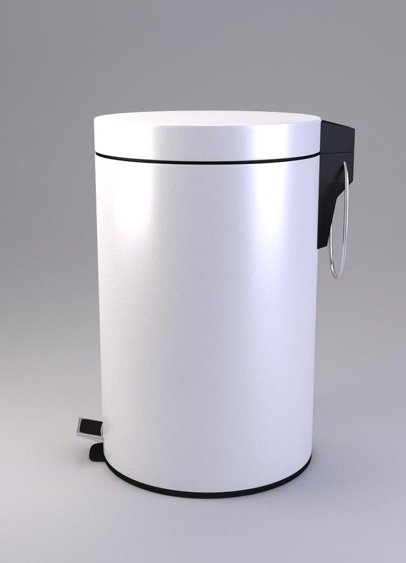 pedal bin white 3d 3ds