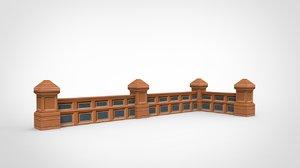 pillar-banister modeled 3d model