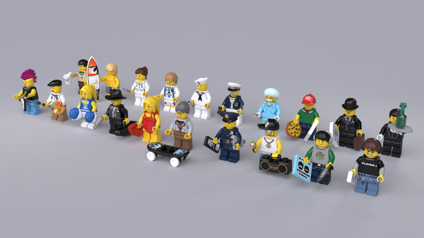 max 20 rigged lego minifigures