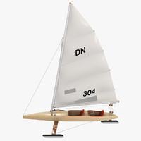 3d iceboat stern steerer boat sail model