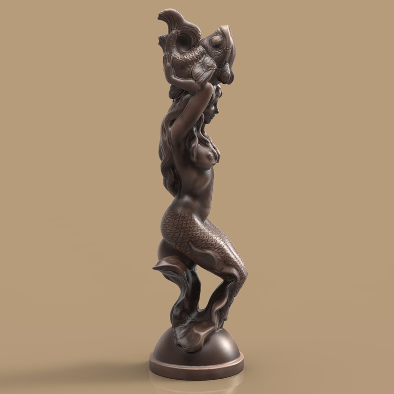 3d model of sculpture mermaid