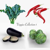 3d model of vegetables brussel pepper