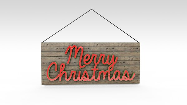 merry christmas sign 3d model