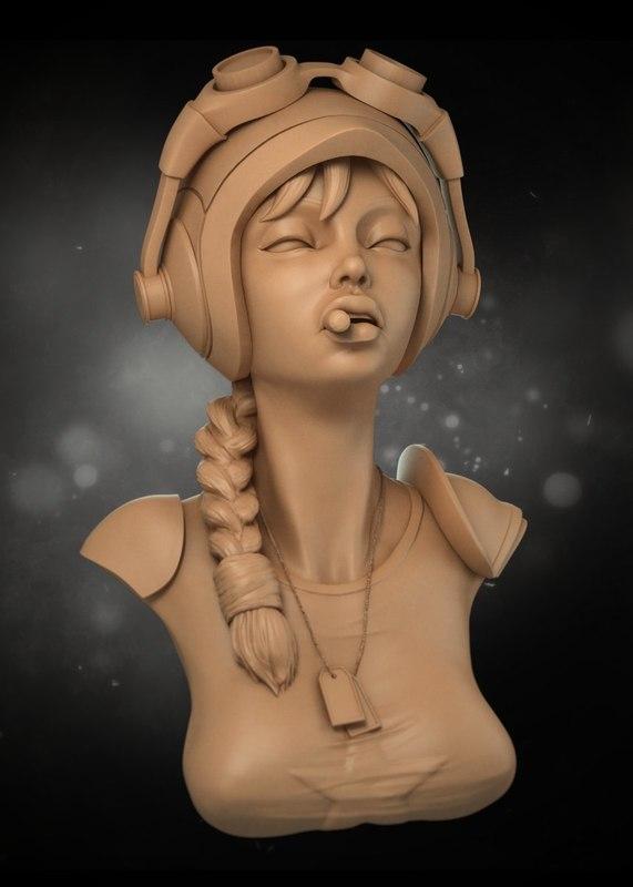 stylized female 3d model