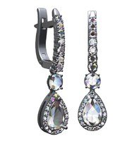 Pear shape diamonds pave earrings