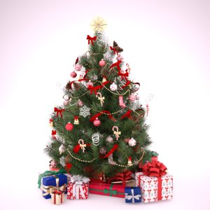 decorated christmas tree beautiful 3d max