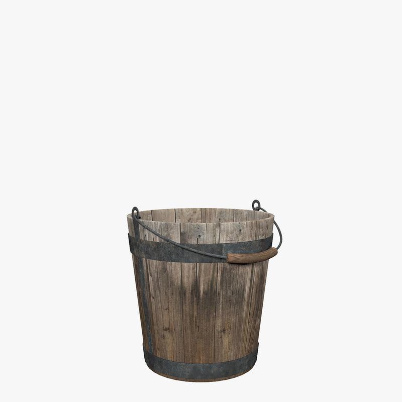 bucket wooden 3d max