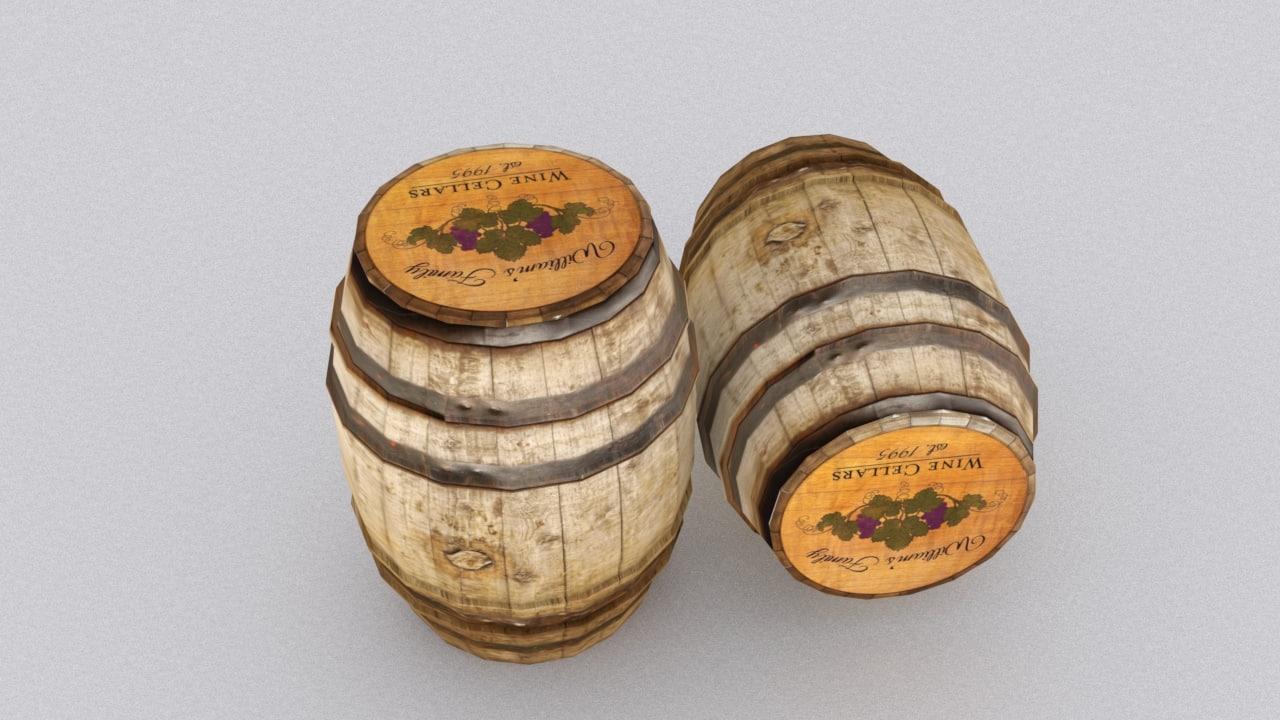 3d model barrel bar wine