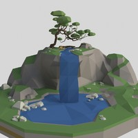 Mountain with waterfall lowpoly