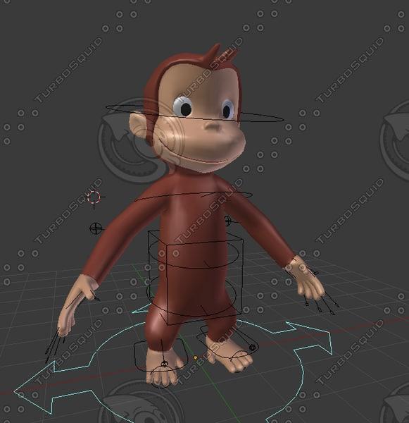 3d model monkey curious george