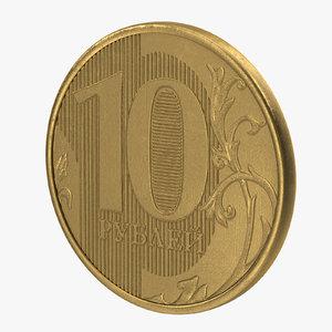 10 ruble coin 3d obj