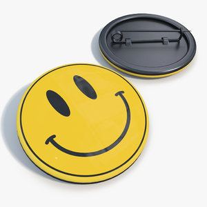 3d badge smiley face