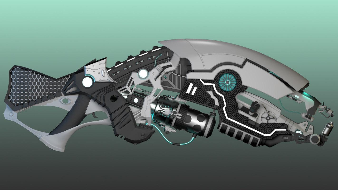 sci fi gun 3d model