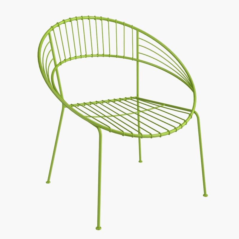 3d model metal chair
