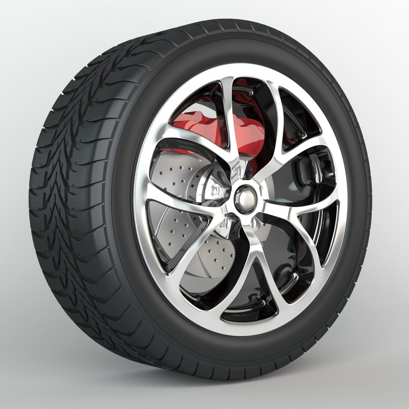 wheel discs tire brakes 3d obj