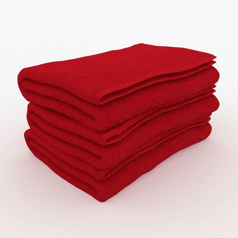 3d towel fold red model
