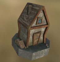 LowPoly Medieval wooden house