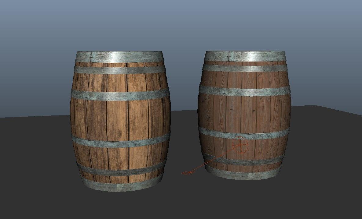 wooden barrels obj