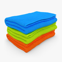 3d towel fold 3 colors model