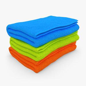 3d towel fold 3 colors model
