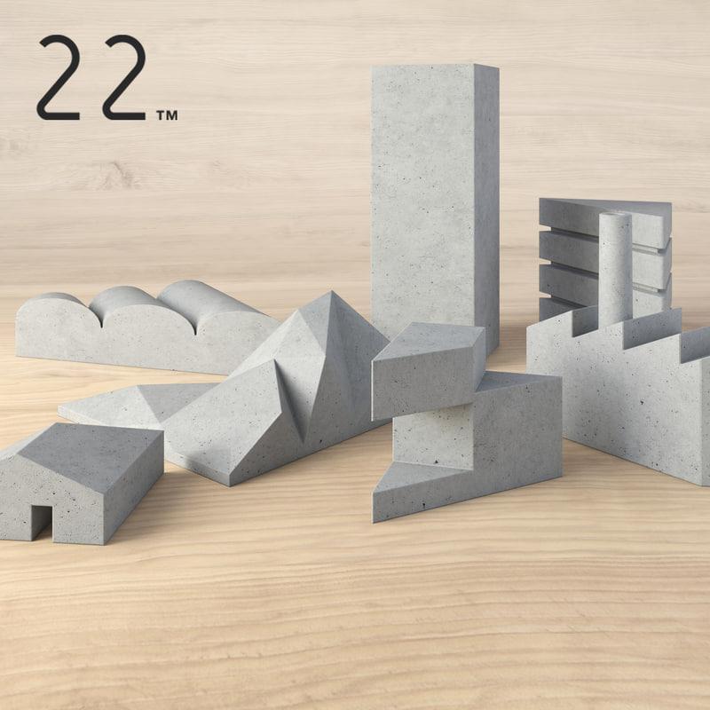 3d model tangram cityscape