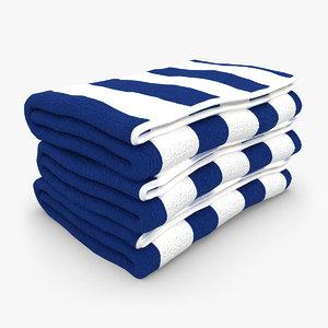 3d towel fold blue white model
