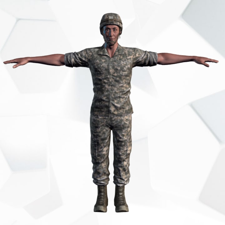 3d model of soldiers rigged