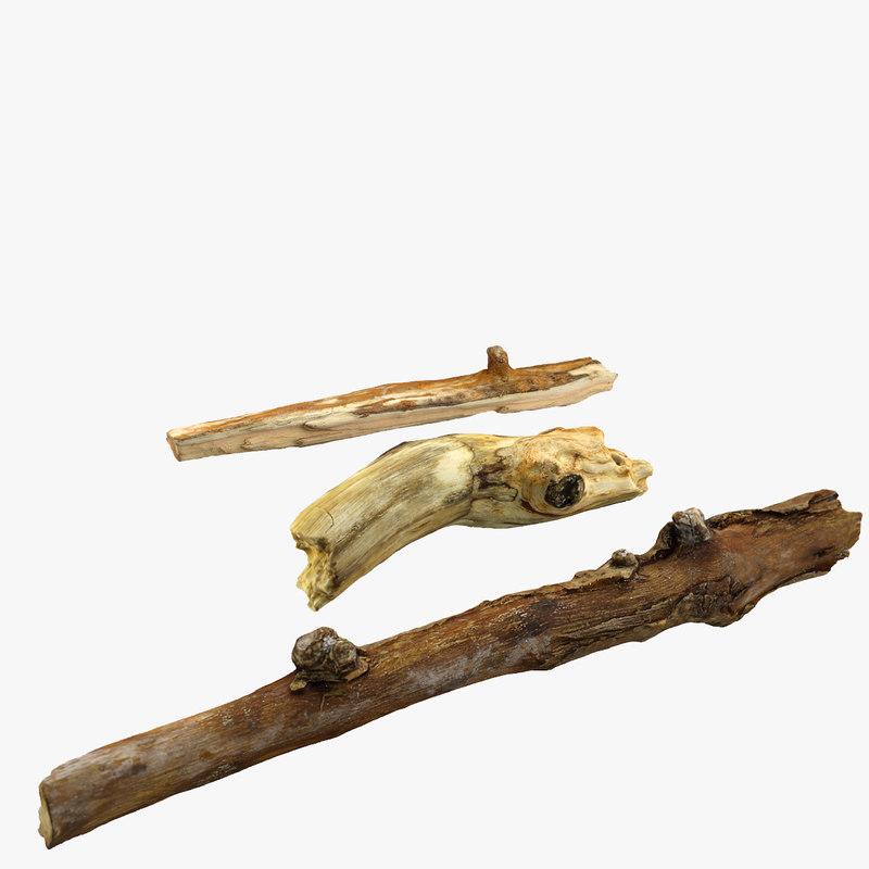 realistic sticks 3d model
