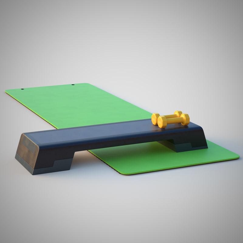 3d model of fitness equipment step