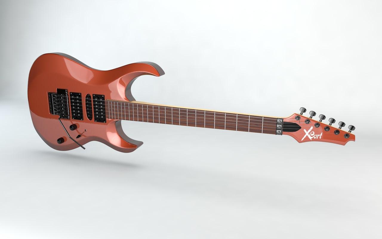 electric guitar cort x6 3d model