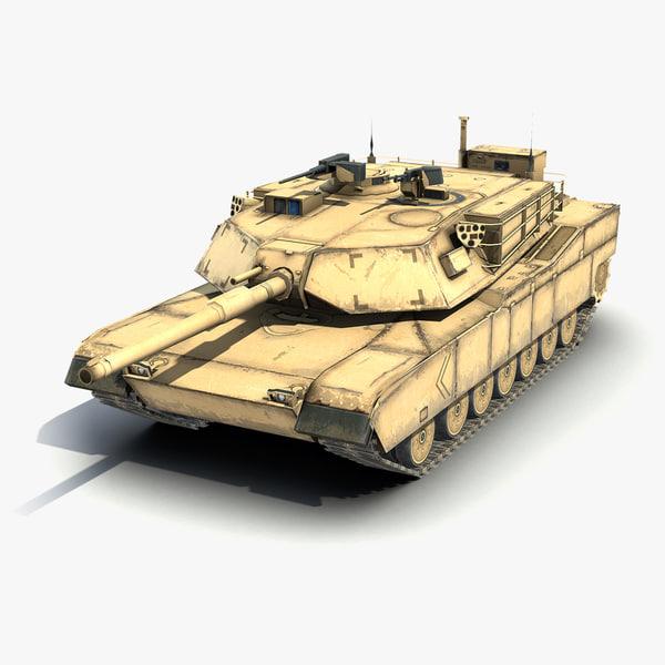 3ds low-poly battle tank m1a1 abrams