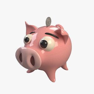 3d piggy bank pig model